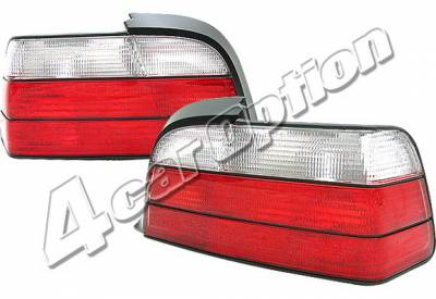 Headlights & Tail Lights - Tail Lights - 4 Car Option - BMW 3 Series 2DR 4 Car Option Euro Taillights - Red & Clear - LT-B362-KS