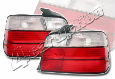 Headlights & Tail Lights - Tail Lights - 4 Car Option - BMW 3 Series 4DR 4 Car Option Euro Taillights - Red & Clear - LT-B364-KS