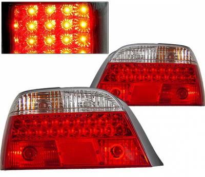 Headlights & Tail Lights - Led Tail Lights - 4 Car Option - BMW 7 Series 4 Car Option LED Taillights - Red & Clear - LT-B38LEDRC-KS