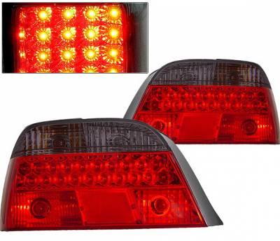 Headlights & Tail Lights - Led Tail Lights - 4 Car Option - BMW 7 Series 4 Car Option LED Taillights - Red & Smoke - LT-B38LEDRSM-KS