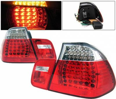 Headlights & Tail Lights - Led Tail Lights - 4 Car Option - BMW 3 Series 4DR 4 Car Option LED Taillights - Red & Clear - 4PC - LT-B46402LEDRC-KS