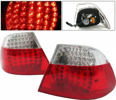 Headlights & Tail Lights - Led Tail Lights - 4 Car Option - BMW 3 Series 2DR 4 Car Option LED Taillights - Red & Clear - LT-B46992LEDRC-DP