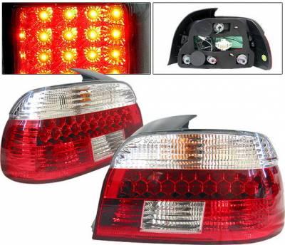 Headlights & Tail Lights - Led Tail Lights - 4 Car Option - BMW 5 Series 4 Car Option LED Taillights - Red & Clear - LT-BE39LED-KS