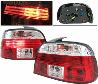 Headlights & Tail Lights - Tail Lights - 4 Car Option - BMW 5 Series 4 Car Option Taillights - Red & Clear - LT-BE39RC