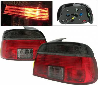Headlights & Tail Lights - Tail Lights - 4 Car Option - BMW 5 Series 4 Car Option Taillights - Red & Smoke - LT-BE39RSM