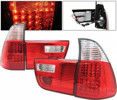 Headlights & Tail Lights - Led Tail Lights - 4 Car Option - BMW X5 4 Car Option LED Taillights - Red & Clear - LT-BE5300LEDRC-KS