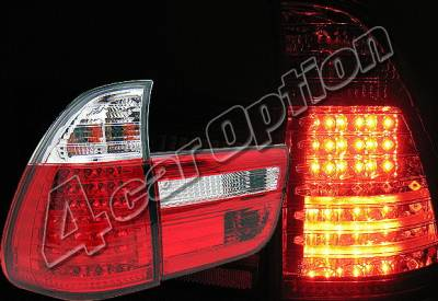 Headlights & Tail Lights - Led Tail Lights - 4 Car Option - BMW X5 4 Car Option LED Taillights - Red & Clear - LT-BE5300LEDRC-YD