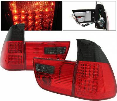 Headlights & Tail Lights - Led Tail Lights - 4 Car Option - BMW X5 4 Car Option LED Taillights - Red & Smoke - LT-BE5300LEDRSM-KS