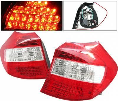Headlights & Tail Lights - Led Tail Lights - 4 Car Option - BMW 1 Series 4 Car Option LED Taillights - Red & Clear - LT-BE87LEDRC-DP