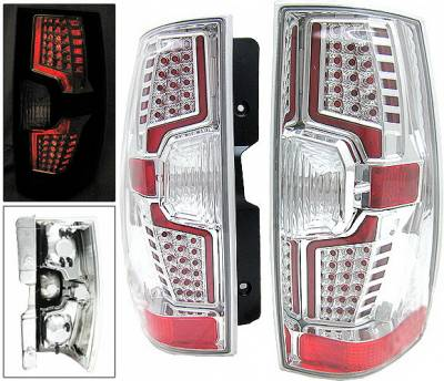 Headlights & Tail Lights - Led Tail Lights - 4 Car Option - Chevrolet Suburban 4 Car Option LED Taillights - Chrome - LT-CST07LEDC-7
