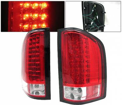 Headlights & Tail Lights - Led Tail Lights - 4 Car Option - Chevrolet Silverado 4 Car Option LED Taillights - Red & Clear - LT-CSV07LEDRC-KS