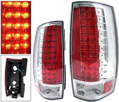 Headlights & Tail Lights - Led Tail Lights - 4 Car Option - Chevrolet Suburban 4 Car Option LED Taillights - Chrome - LT-CT07LEDC-KS
