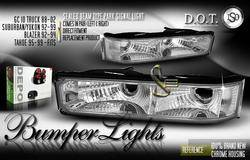 Headlights & Tail Lights - Corner Lights - Custom - Chrome Sealed Beam Bumper Lights