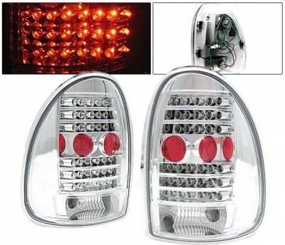 Headlights & Tail Lights - Led Tail Lights - 4 Car Option - Dodge Caravan 4 Car Option LED Taillights - Chrome - LT-DC96LEDC-KS