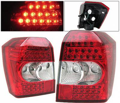 Headlights & Tail Lights - Led Tail Lights - 4 Car Option - Dodge Caliber 4 Car Option LED Taillights - Red & Clear - LT-DCAB07LEDRC-KS