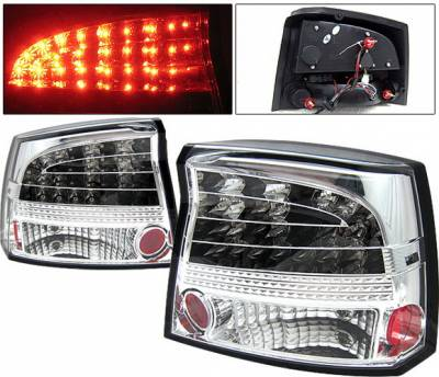 Headlights & Tail Lights - Led Tail Lights - 4 Car Option - Dodge Charger 4 Car Option LED Taillights - Chrome - LT-DCHAR06LEDC-YD