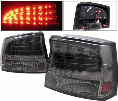 Headlights & Tail Lights - Led Tail Lights - 4 Car Option - Dodge Charger 4 Car Option LED Taillights - Smoke - LT-DCHAR06LEDSM-YD