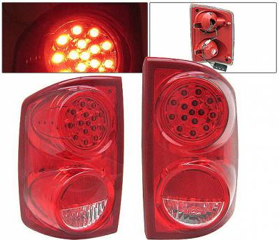 Headlights & Tail Lights - Led Tail Lights - 4 Car Option - Dodge Dakota 4 Car Option LED Taillights - Red & Clear - LT-DD05LEDRC-KS