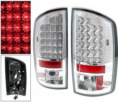 Headlights & Tail Lights - Led Tail Lights - 4 Car Option - Dodge Ram 4 Car Option LED Taillights - Chrome - LT-DR02LEDC