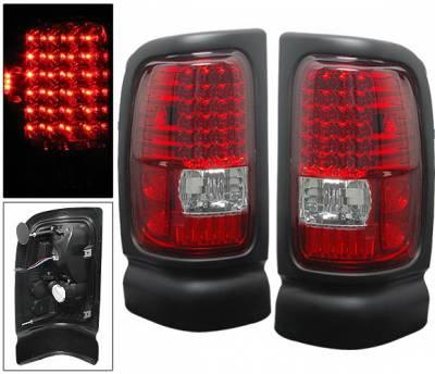 Headlights & Tail Lights - Led Tail Lights - 4 Car Option - Dodge Ram 4 Car Option LED Taillights - Red & Clear - LT-DR94LEDRC-6