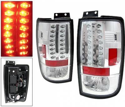 Headlights & Tail Lights - Led Tail Lights - 4 Car Option - Ford Expedition 4 Car Option LED Taillights - Chrome - LT-FE97LEDC