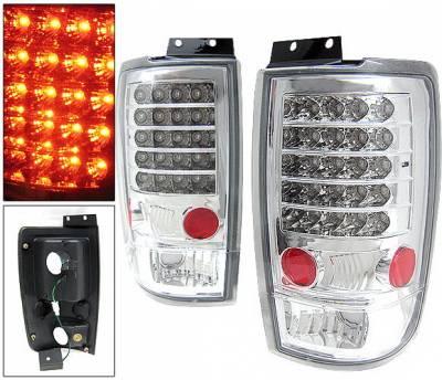 Headlights & Tail Lights - Led Tail Lights - 4 Car Option - Ford Expedition 4 Car Option LED Taillights - Chrome - LT-FE97LEDC-KS