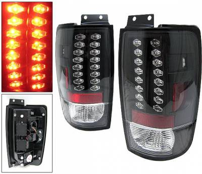Headlights & Tail Lights - Led Tail Lights - 4 Car Option - Ford Expedition 4 Car Option LED Taillights - Black - LT-FE97LEDJB