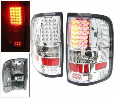 Headlights & Tail Lights - Led Tail Lights - 4 Car Option - Ford F150 4 Car Option LED Taillights - Chrome - LT-FF15004LEDC-6