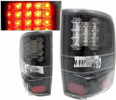 Headlights & Tail Lights - Led Tail Lights - 4 Car Option - Ford F150 4 Car Option LED Taillights - Black - LT-FF15004LEDJB-KS