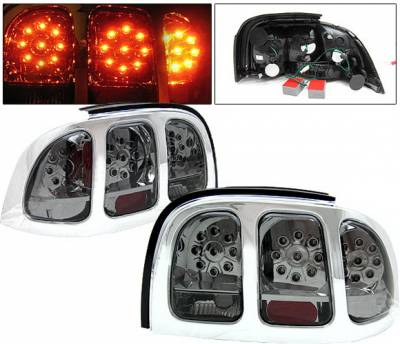 Headlights & Tail Lights - Led Tail Lights - 4 Car Option - Ford Mustang 4 Car Option LED Taillights - Smoke - LT-FM94LEDSM-KS