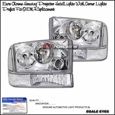 Headlights & Tail Lights - Headlights - Custom - Euro Chrome Pro Headlights With Corner Lights