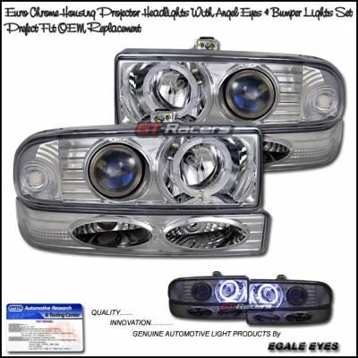 Headlights & Tail Lights - Headlights - Custom - Chrome Angel Eyes Headlights With Corner Lights