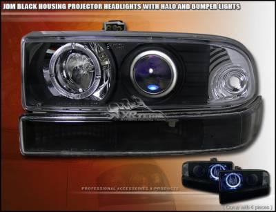 Headlights & Tail Lights - Headlights - Custom - JDM Black Pro Headlights With Bumper Lights