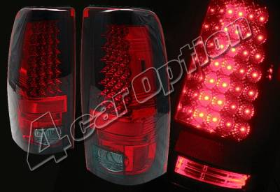 Headlights & Tail Lights - Led Tail Lights - 4 Car Option - Chevrolet Silverado 4 Car Option LED Taillights - Red & Smoke - LT-GSV99LEDRSM
