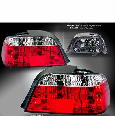 Headlights & Tail Lights - Tail Lights - Custom - Red Clear Crystal Tail Lights