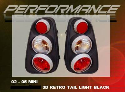 Headlights & Tail Lights - Tail Lights - Custom - Black 3D Retro Tail Lights