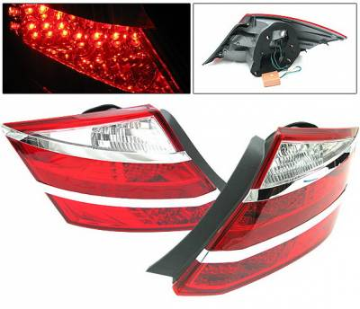 Headlights & Tail Lights - Led Tail Lights - 4 Car Option - Honda Accord 2DR 4 Car Option LED Taillights - Red & Clear - LT-HA082LEDRC-KS