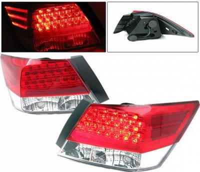 Headlights & Tail Lights - Led Tail Lights - 4 Car Option - Honda Accord 4DR 4 Car Option LED Taillights - Red & Clear - LT-HA084LEDRC-KS