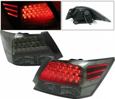 Headlights & Tail Lights - Led Tail Lights - 4 Car Option - Honda Accord 4DR 4 Car Option LED Taillights - Smoke - LT-HA084LEDSM-KS