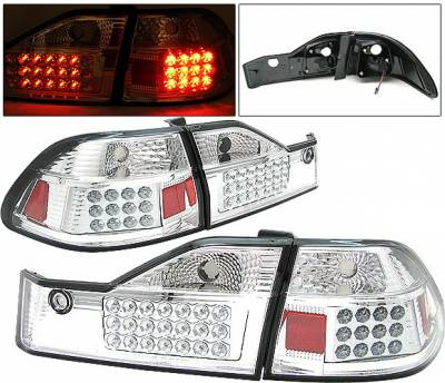 Headlights & Tail Lights - Led Tail Lights - 4 Car Option - Honda Accord 4DR 4 Car Option LED Taillights - Chrome - LT-HA984LEDC-1