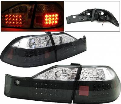 Headlights & Tail Lights - Led Tail Lights - 4 Car Option - Honda Accord 4DR 4 Car Option LED Taillights - Black - LT-HA984LEDJB-1