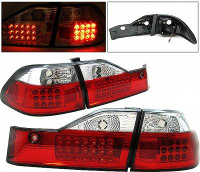 Headlights & Tail Lights - Led Tail Lights - 4 Car Option - Honda Accord 4DR 4 Car Option LED Taillights - Red & Clear - LT-HA984LEDRC-1