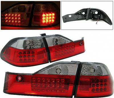 Headlights & Tail Lights - Led Tail Lights - 4 Car Option - Honda Accord 4DR 4 Car Option LED Taillights - Red & Smoke - LT-HA984LEDRSM-1