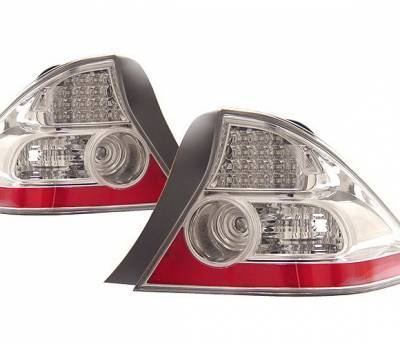 Headlights & Tail Lights - Led Tail Lights - 4 Car Option - Honda Civic 4DR 4 Car Option LED Taillights - Red & Clear - LT-HC04LEDC-KS