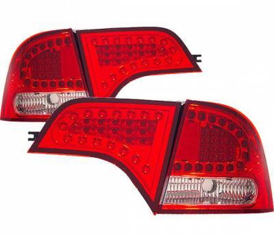 Headlights & Tail Lights - Led Tail Lights - 4 Car Option - Honda Civic 4DR 4 Car Option LED Taillights - Red & Clear - LT-HC064LEDRC-KS