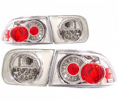 Headlights & Tail Lights - Led Tail Lights - 4 Car Option - Honda Civic 2DR & 4DR 4 Car Option LED Taillights - Chrome - LT-HC922LEDC-KS