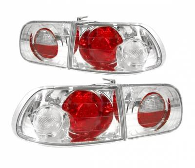 Headlights & Tail Lights - Tail Lights - 4 Car Option - Honda Civic HB 4 Car Option Altezza Taillights - Chrome - LT-HC923A-YD