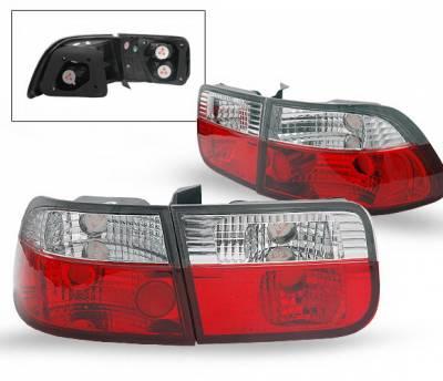 Headlights & Tail Lights - Led Tail Lights - 4CarOption - Honda Civic 2DR 4CarOption Taillights - LT-HC962RC-YD