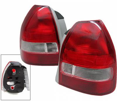 Headlights & Tail Lights - Tail Lights - 4 Car Option - Honda Civic HB 4 Car Option Taillights - Red & Clear - LT-HC963RC-KS