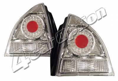 Headlights & Tail Lights - Led Tail Lights - 4 Car Option - Honda Prelude 4 Car Option LED Taillights - Chrome - LT-HP92LEDC-KS